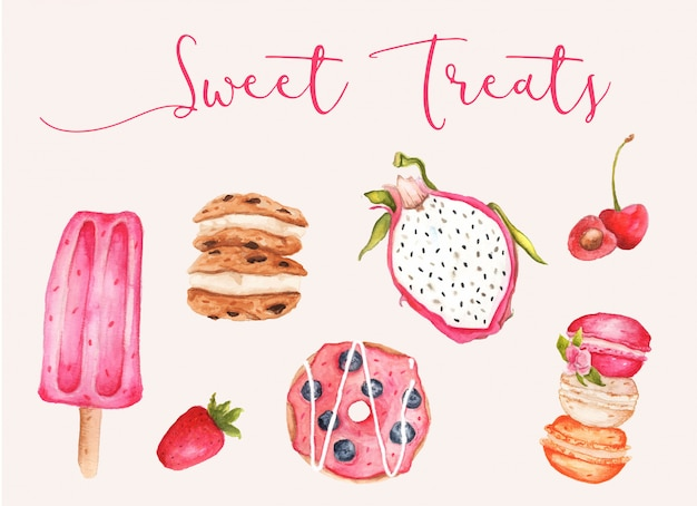 Watercolor sweet treats vector collection