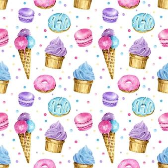 水彩スイーツシームレスパターンアイスクリームカップケーキドーナツマカロンとドット