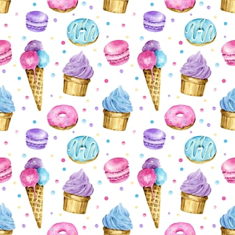 Watercolor sweets seamless pattern ice cream cupcake donut macaroon and dots