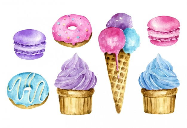 Watercolor sweets set: ice cream, macaroon, donut and cake