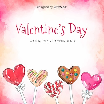 Watercolor sweets valentine's day background