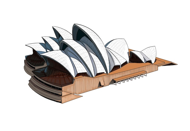 Watercolor sydney opera house on white