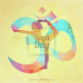 Watercolor symbol yoga day background