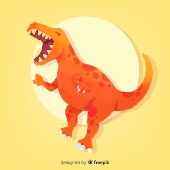 Watercolor t-rex dinosaur background