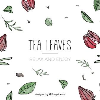 Watercolor tea leaves background