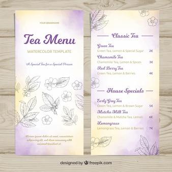 Watercolor tea menu template