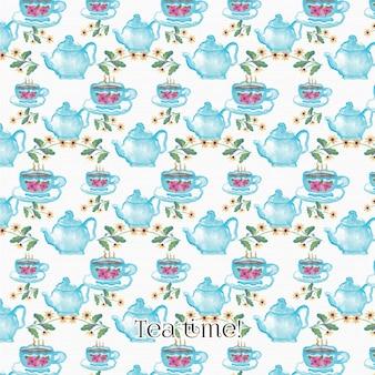 Watercolor tea pattern