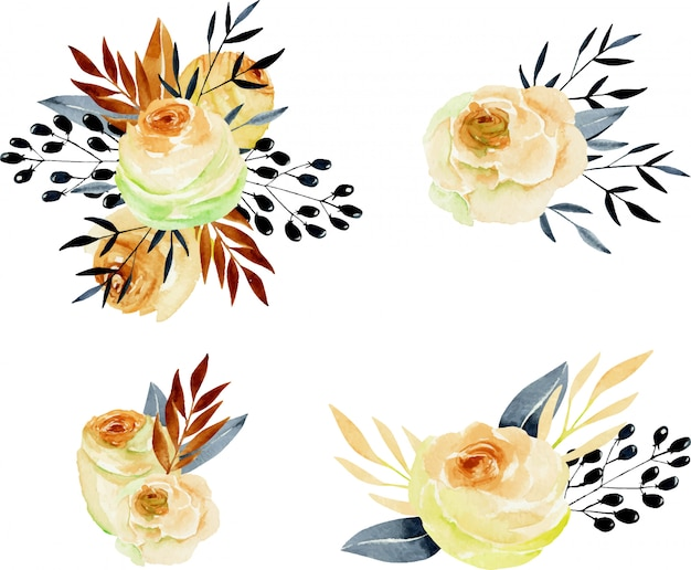 Watercolor tea roses bouquets hand drawn collection