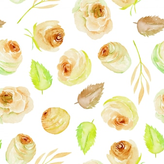 Watercolor tea roses and leaves seamless pattern
