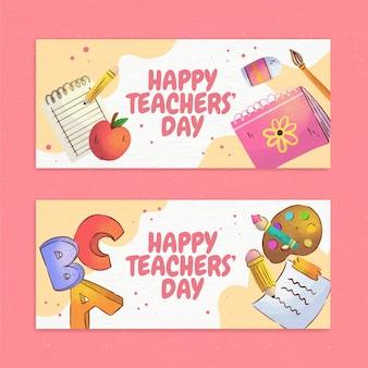 Watercolor teachers' day horizontal banners set