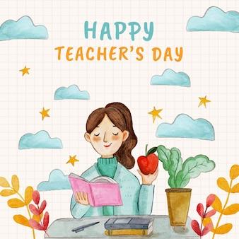 Акварель день учителя иллюстрация