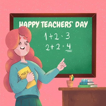 Watercolor teachers' day illustration
