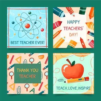 Collezione di post instagram per la giornata degli insegnanti dell'acquerello