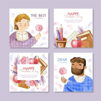 Watercolor teachers' day instagram posts collection
