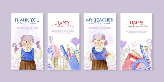Watercolor teachers' day instagram stories collection