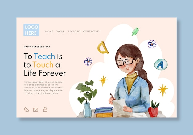 Watercolor teachers' day landing page template