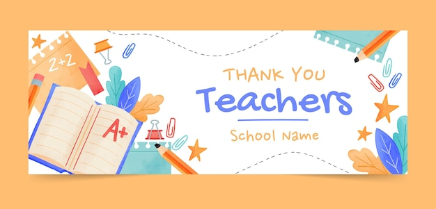 Watercolor teachers' day social media cover template