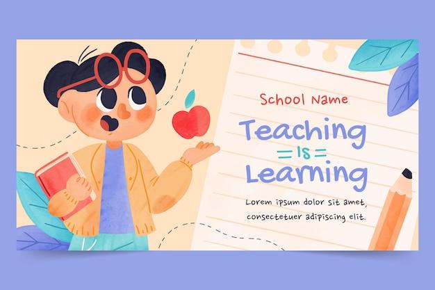 Modello di post sui social media per la giornata degli insegnanti dell'acquerello