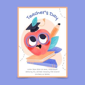 Watercolor teachers' day vertical flyer template