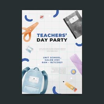 Шаблон вертикального плаката акварельный день учителя