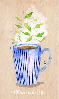 Watercolor teacup with chamomile tea drawing on kraft paper background