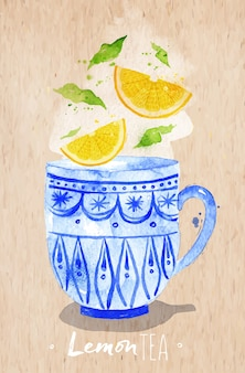 Watercolor teacup with lemon tea drawing on kraft paper background