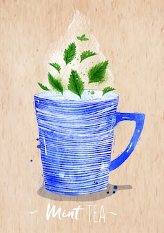 Watercolor teacup with mint tea drawing on kraft paper background