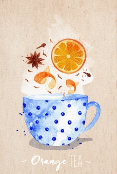 Watercolor teacup with orange tea, cloves, anise drawing on kraft paper background