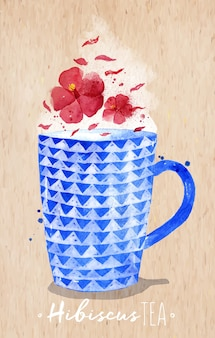 Watercolor teacup with red tea, hibiscus drawing on kraft paper background