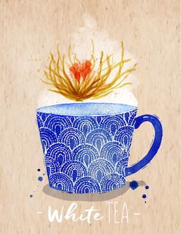 Watercolor teacup with white tea drawing on kraft paper background