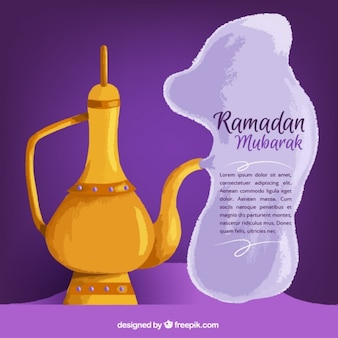 Watercolor teapot ramadan background