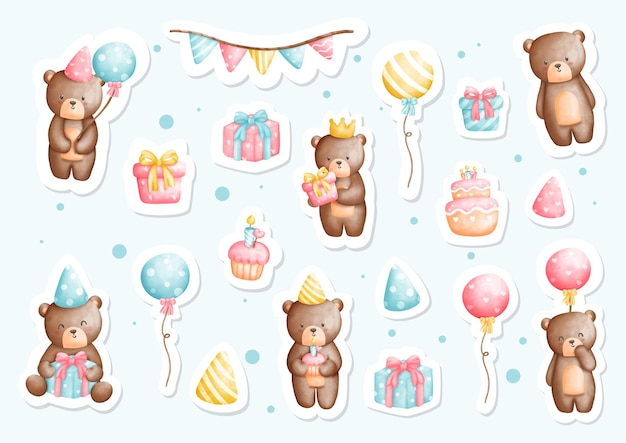 Watercolor teddy bear birthday party  sticker planner and scrapbook