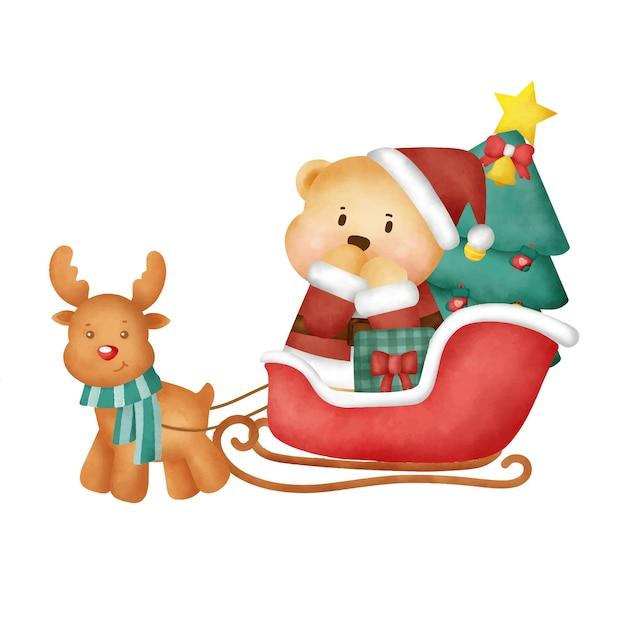 水彩テディベアのクリスマスカード