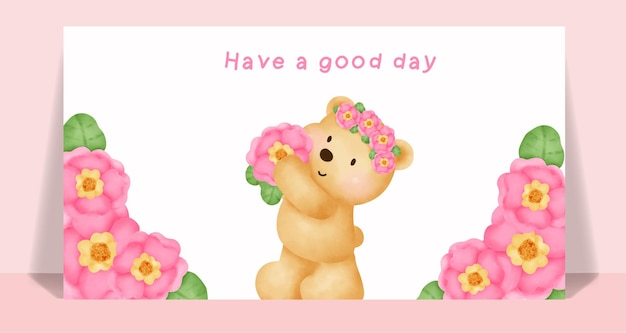 Watercolor teddy bear in a flower garden card .