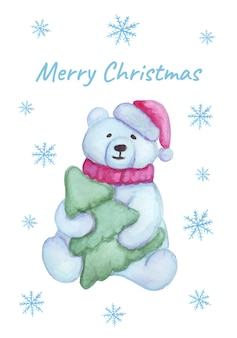 Watercolor teddy bear sits with a christmas tree