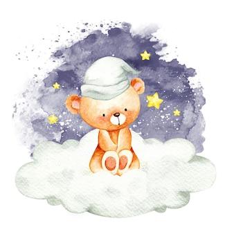 구름에 앉아 수채화 곰 프리미엄 벡터