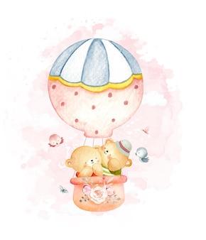 Watercolor teddy bears in hot air balloon