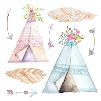 Watercolor teepee, ethnic arrows and flowers set