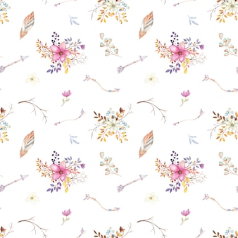 Watercolor teepee floral pattern