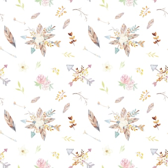 Watercolor teepee floral pattern.