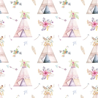 Watercolor teepee pattern