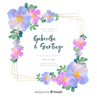 Watercolor tempate for wedding invitation