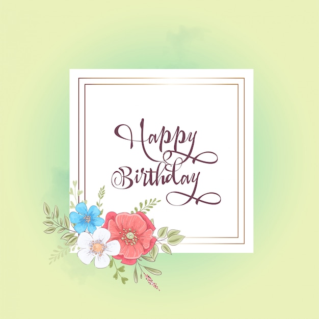 Watercolor template for a birthday wedding celebration with flowers and space for text.