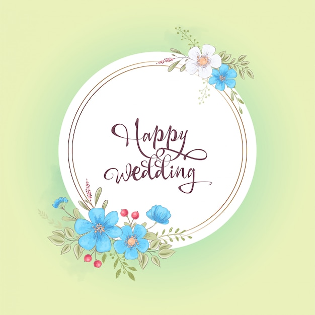 Watercolor template for a birthday wedding celebration with flowers