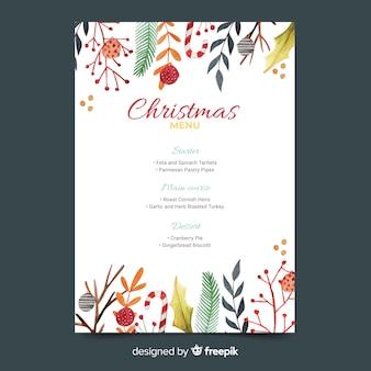 Watercolor template christmas menu