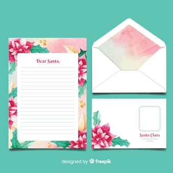 Watercolor template christmas stationery
