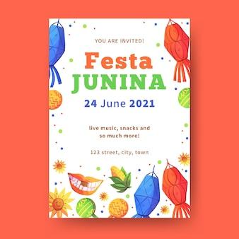 Watercolortemplatefesta junina flyer