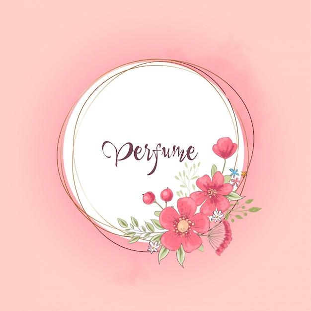 Акварельный шаблон для свадебного празднования дня рождения с цветами и пространством для текста.