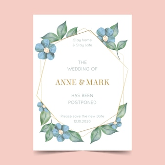 Акварельный шаблон для отложенной свадебной открытки с цветами