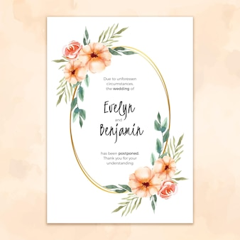 Watercolor template for postponed wedding card